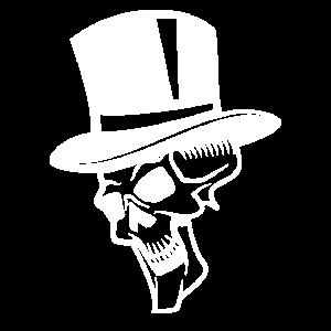 Weißer Totenkopf mit Hut