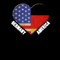 Die große liebe Amerika & Deutschland Shirt Retro
