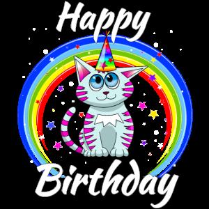 Happy Birthday Geburtstag Katze Regenbogen