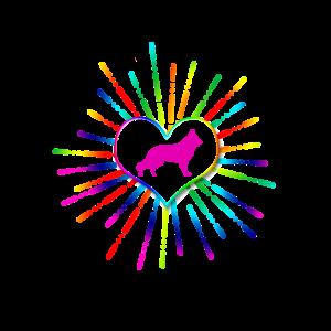 Buntes Herz mit Schäferhund pink (0118)
