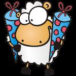 Schulanfang und Zuckertüte Schaf