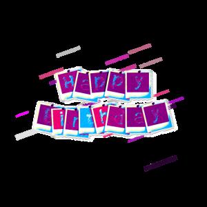 Geburtstag Tafel Schriftart 80er Retro Violett