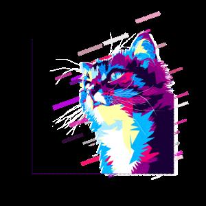 Tier Katze 80er Retro Violett