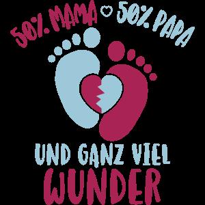 50% Mama 50% Papa Ganz viel Wunder Baby Kind