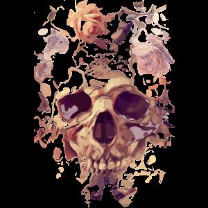Totenkopf mit Rosen