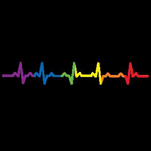 Cool Heartbeat LGBT Rainbow Heartbeat Heart Rate