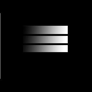 3 Striche, Untereinander, Schwarz und Weiß