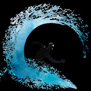 watercolor surfer