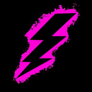 Bolzen Blitz Pink und Schwarz Umriss