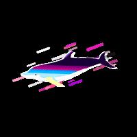 Delphin Fische 80er Retro Violett