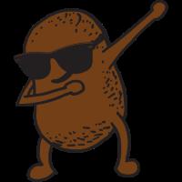 Lustige Kartoffel mit Sonnenbrille posiert dabbing