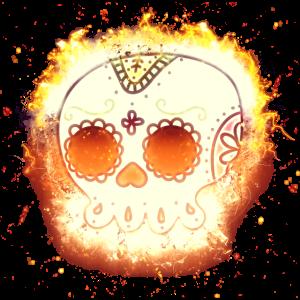 Tag der Toten Schädel brennend
