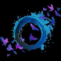 Vögel im Kreis mit Wasserfarbe