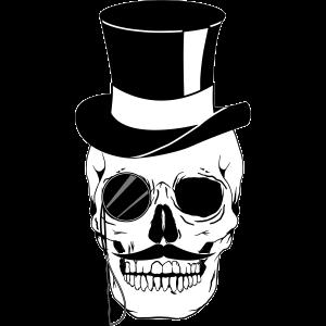 Hipster Totenkopf Gentleman Schädel mit Zylinder
