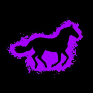 Pferd Tier Lila und Schwarz Umriss