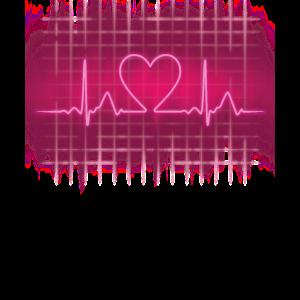 80er Retro Herzschlag, Pink Neon Heartbeat Pop-Art