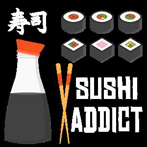Sushi Fisch Reis Staebchen suechtig Zeichen