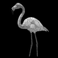 0028.2 Polygon Flamingo 1 (schwarz/weiß)