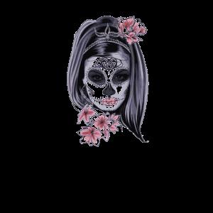 Totenkopf Gesichtmaske Frau Schön Blumen