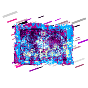 Weltkarte historisch 80er Retro Violett