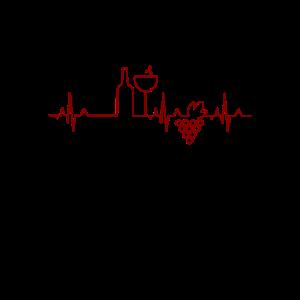 Lustiges Wein-Herzschlag-T-Shirt