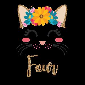 4. Geburtstag Mädchen Katzen Gesicht - Miezekatze