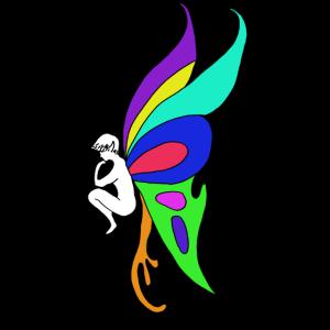 Elfe Schmetterling Bunt Flügel Fee Illustration