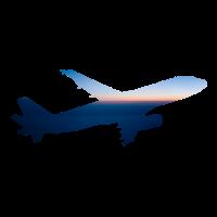 Flugzeug mit Sonnenuntergang Verlauf.