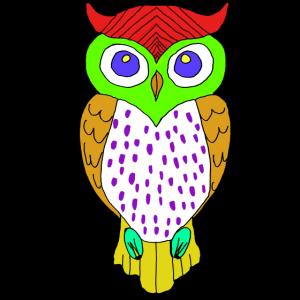 Eule Vogel Illustration Bunt Zeichnung