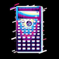 Taschenrechner Schlüssel 80er Retro Violett