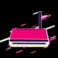 Kabellos Router 80er Retro Violett