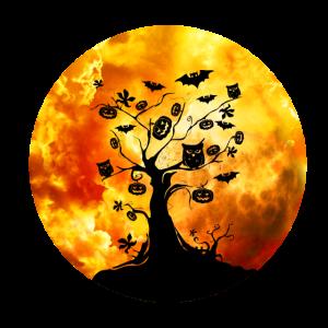 Halloween Grusel Baum mit Fledermaus und Kürbis