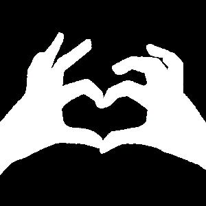 Hände Herz weiss Handzeichen Symbol
