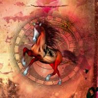 Wundervolles Fantasy-Pferd mit Totenkopf