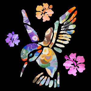 Kolibri bunt Hibiskusblüten