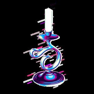 Kerzenhalter mit Griff Kerze 80er Retro Violett