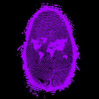 Fingerabdruck Welt Lila und Schwarz Umriss