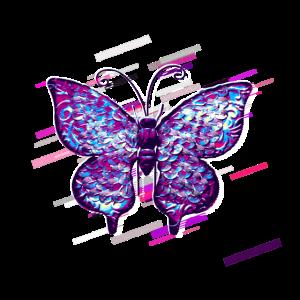 Schmetterling Dekoration 80er Retro Violett