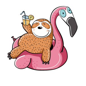 Urlaubsreifes Faultier Auf Flamingo Schwimmreif