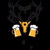 Hirsch mit Beute JGA Bier Bierkrüge zum Anstossen