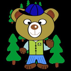 Bär mit Kappe und Weihnachtsbäume im Hintergrund