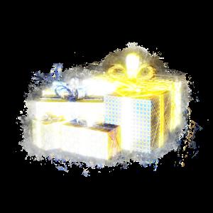 Geschenk verpackt hell glühend