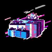 Geschenk verpackt 80er Retro Violett
