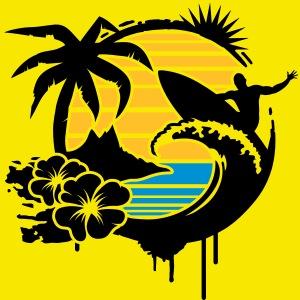 un palmier, fleurs d'hibiscus, une île,une vague et surfer avec planche de surf