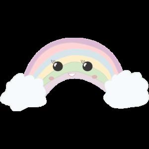 Süßer lachender Regenbogen mit Wolken Geschenk