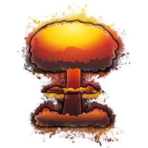 Bombe explosion hell glühend
