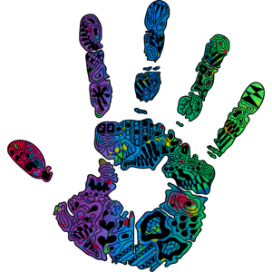 Hand Handabdruck bunt Farbe Ornamente Geschenk