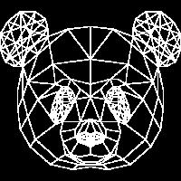 Panda 2- Low Poly Geometrik Pandakopf