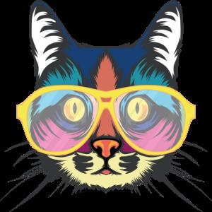 Bunte Katze mit Brille