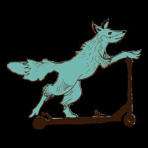 Fuchs auf Roller